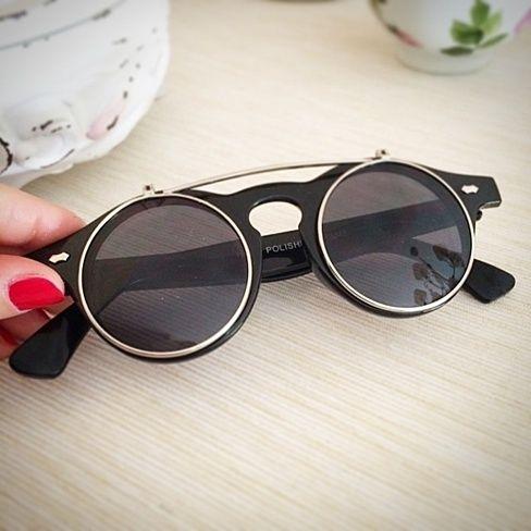 Retro Steampunk Circle Flip Up Glasses / Sunglasses