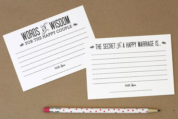 Words of wisdom cards printable template wedding details for Bridal shower advice cards template