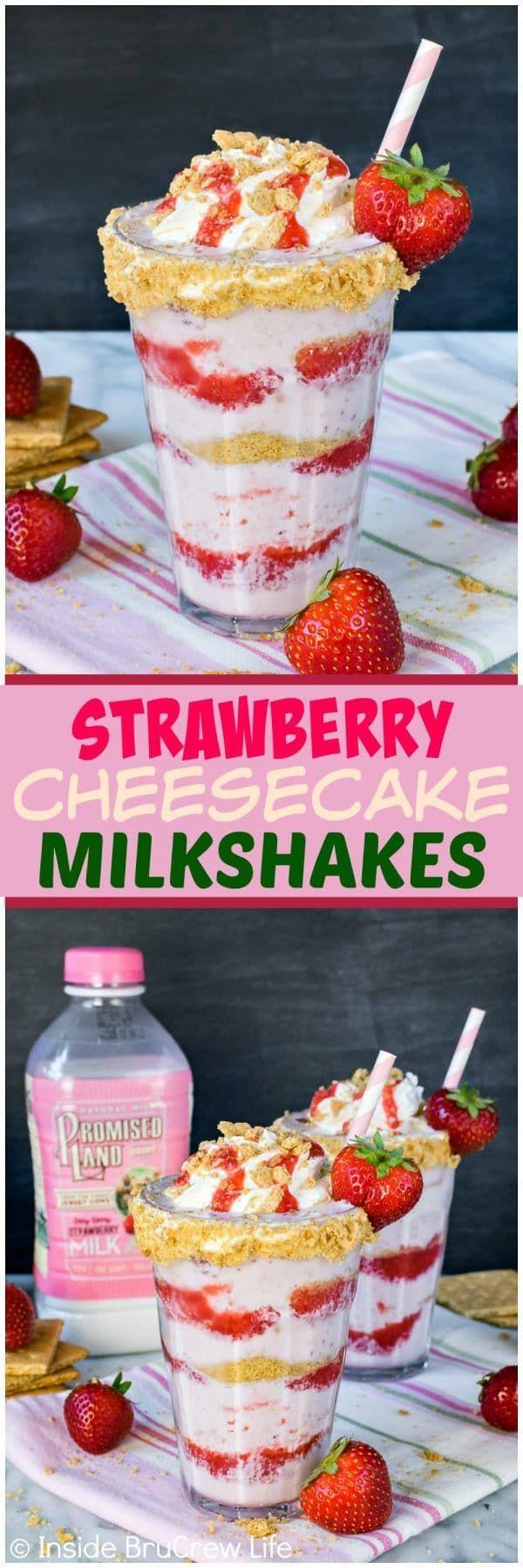 Strawberry Cheesecake Milkshakes - layers of strawberry sauce, milkshake, and graham cracker crumbs makes one amazing frozen drink. Great summer drink recipe!