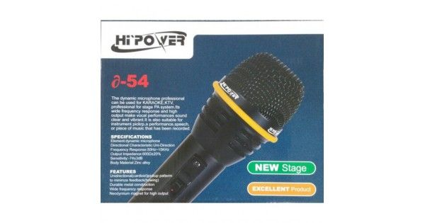 Wired Microphone - SPECIFICATIONSElement: Dynamic MicrophoneDirectional Characteristic:Uni-DirectionFrequency Response:50Hz-15KHzOutput Impedance:600Ω±20Sensitivity:-74±3dBBody Material: Zinc alloyFEATURESUnidrectional(cardiod)pickup patternTo m