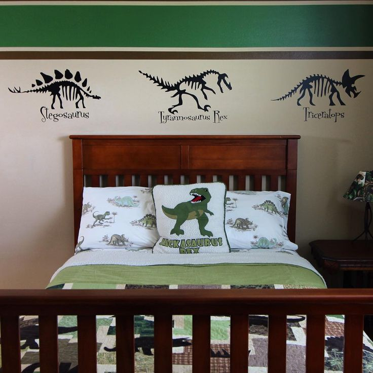 Jack's Dinosaur bedroom.  Inspired by his love of dinosaurs and the stuffed dinosaur I made him while I was living on the Space Station.  #KidsRoom #DIY #Dinosaurs