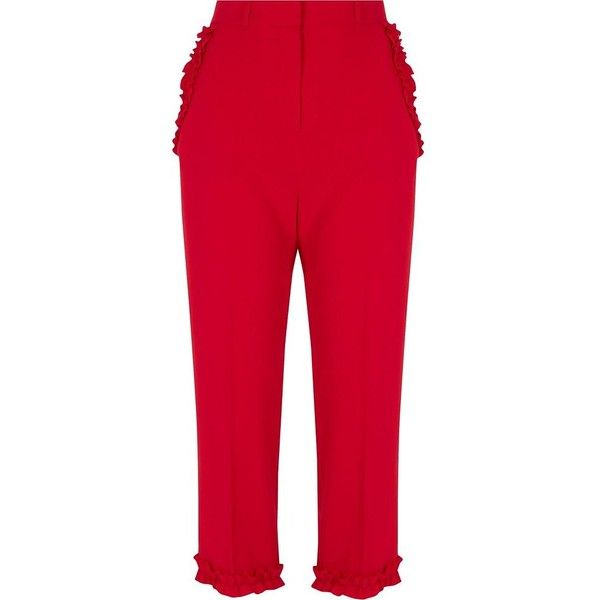 River Island Red frill hem cropped pants (285 SAR) ❤ liked on Polyvore featuring pants, capris, cropped trousers, red, women, red trousers, tall pants, tailored trousers, red pants and zipper pants