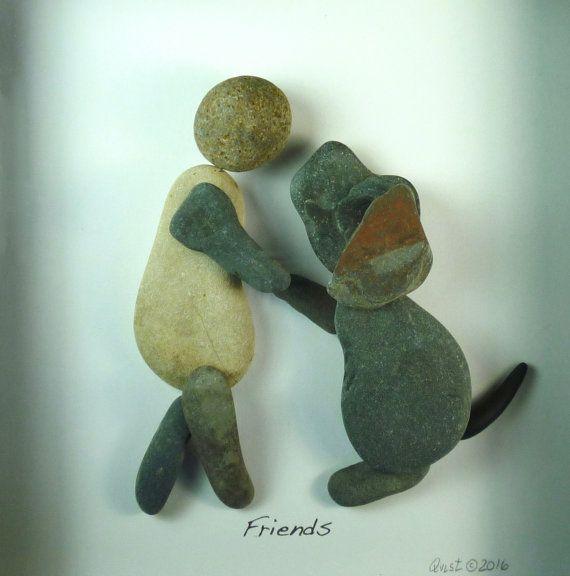 Dog Love Friendship. 8X8 shadow box Pebble Art by qvistdesign