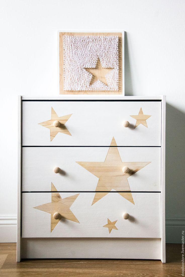 """Купить Комод и панно """"Звезды"""" белый - белый, детская комната, детская, мебель для детской, звезды"""