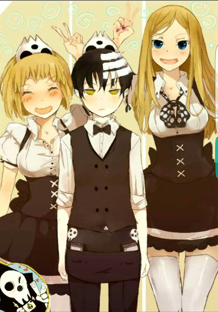 Liz, Patty, Death the Kid, Lord Death, funny, maid, outfit, waiter; Soul Eater