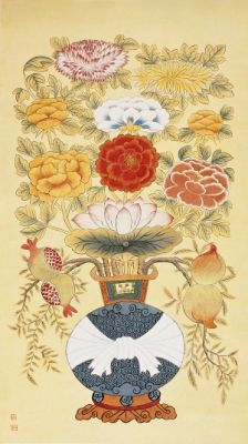Flower in a vase picture / Color on korean paper, 2014 / 122  x 68 cm (48 x 26.8 inch)