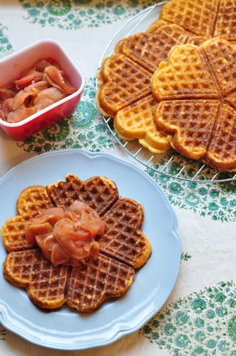 Cornbread waffles with cinnamon and apple compote