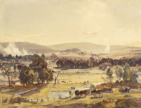 """Hans Heysen, (Germany, Australia, France 08 Oct 1877–02 Jul 1968)  """"An afternoon in autumn""""  1924, Materials: Watercolour  Dimensions: 46.8 x 63.3; 79.2 x 94.4 x   AGNSW Purchased 1924  © C Heysen  Google Image Result for http://media2.artgallery.nsw.gov.au/collection_images/2/25%2523%2523S.jpg"""