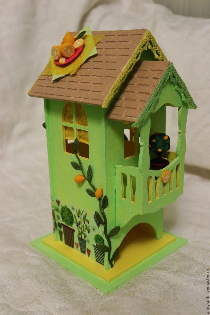 Купить Чайный домик Лимонный чай - желтый, лимоны, чайный домик, миниатюра из пластики