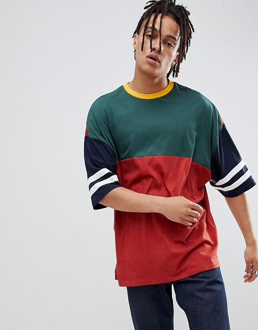 ASOS DESIGN oversized longline t-shirt with half sleeve with retro color  block in burgundy 2bce4fed160