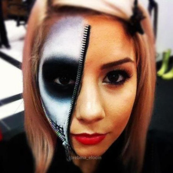 Zipper Skeleton Face Makeup | Saubhaya Makeup