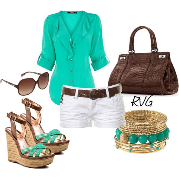 Teal and brown: Summer Fashion, Colors Combos, White Shorts, Summer Looks, Summer Style, Cute Outfits, Cute Summer Outfits, Outfits Ideas, Spring Outfits