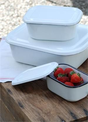 Perfect for storing leftovers or packing up picnic goodies, these Vintage Style Enamel Food Storage Containers are reminiscent of those found in old country kitchens. These retro storage bins each have a lid, making them easy to stack. Each container has a slightly distressed white enamelware finish with black trim and natural markings and imperfections. Food safe. Available in three sizes.