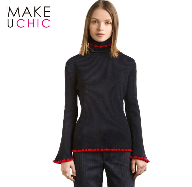 MAKEUCHIC 2017 Fashion Solid Black Women Sweater Autumn Flare Sleeve Pullovers Tops Casual Slim Turtleneck Ruffles Sweater #Affiliate