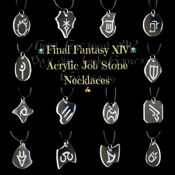 FFXIV Job Stone Necklaces - Clear Acrylic Pendants w/ Waxed Cotton