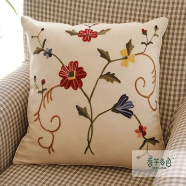 Spring Time Embroidery Pillow