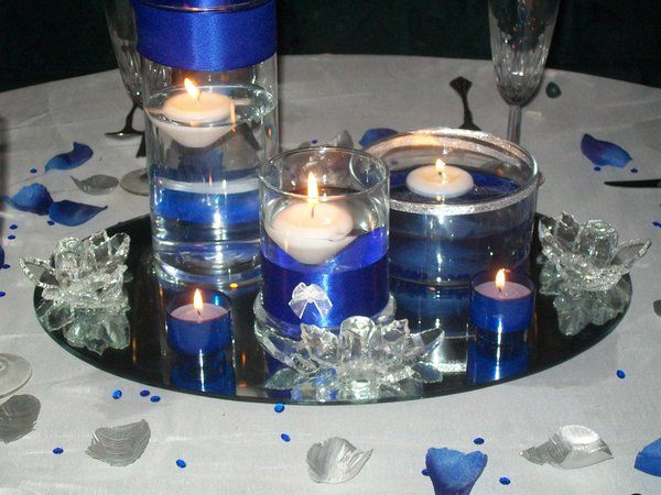 Blue royal and silver wedding centerpieces photo catalog photo