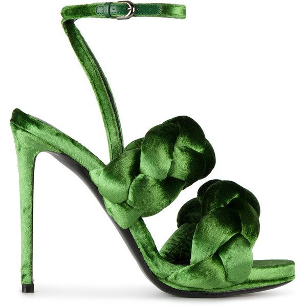 Marco De Vincenzo Green braided Ankle Stap sandals ($1,268) ❤ liked on Polyvore featuring shoes, sandals, green, marco de vincenzo, woven sandals, woven shoes, braided shoes and green shoes