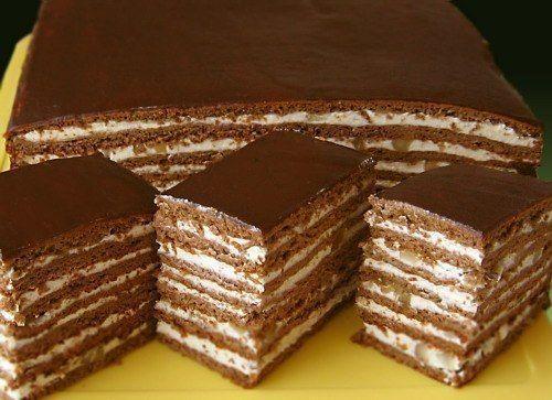 Medovo - čokoládový zákusek s ořechy