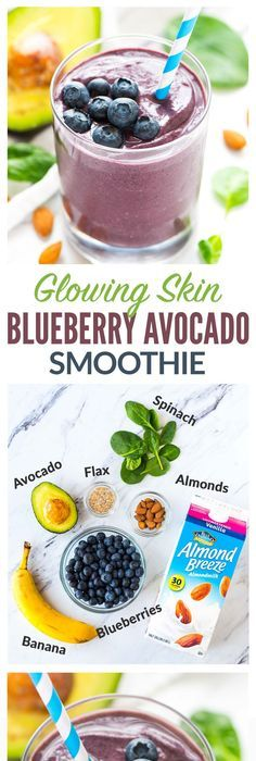 Feuchtigkeitsspendender Blueberry Avocado Banana Smoothie für strahlende Haut! Mit Antioxidantien …