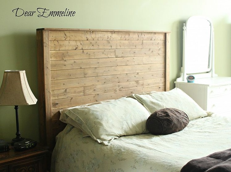 DIY headboard made from new wood, but weathered with apple cider and steel wool oxidizing stain.
