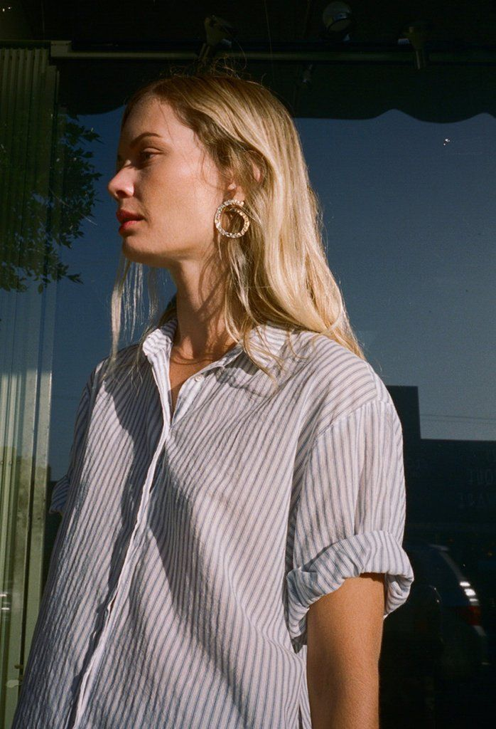 #inspo #frankiegirl #thefrankieshop The Xirena Channing Cassidy ShirtåÊis a white and blue striped button-up shirt.åÊMade of cottonåÊit features a collar and cuffed sleeves. - Materials: 100% Cotton - Made in USA - Size: True to size -