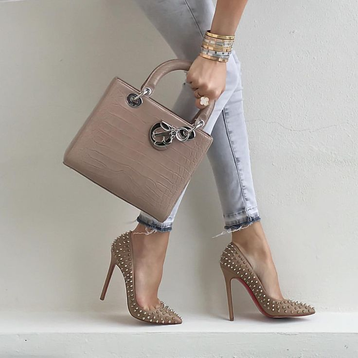 Medium #LadyDior bag with #LouboutinPigalleSpikes120mm. Denim from #HM.
