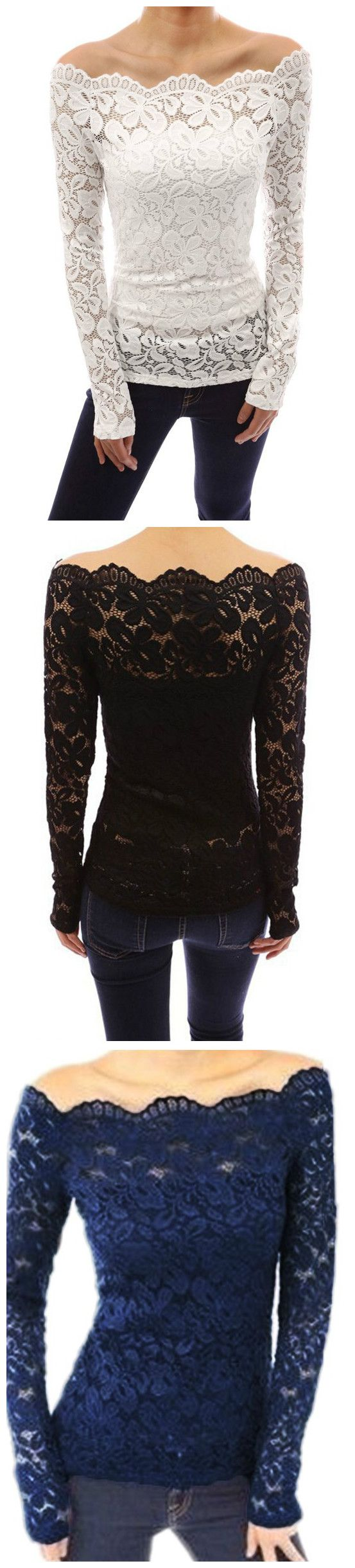 Go pretty with this delicate lace top that features a long sleeve and boat neck. The top is off shoulder and can be paired with jeans or leggings for a stylish look. More deals from Minchic.com