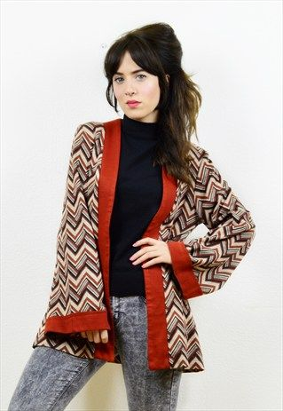 70s+chevron+pattern+thin+bell+sleeved+cardigan