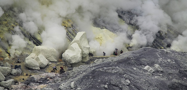The largest sulfur mine, Ijen Crater in East Java is still using traditional means.