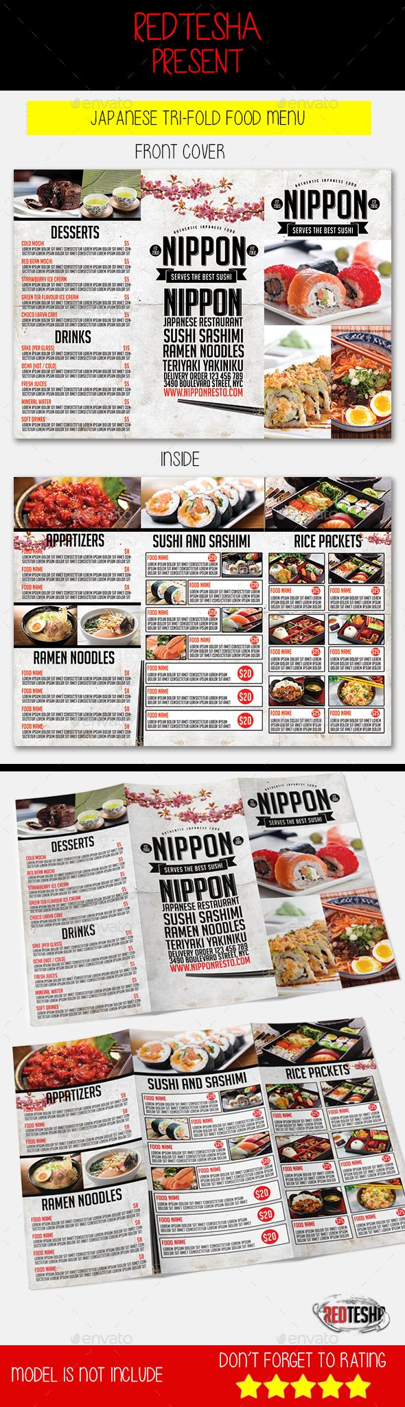 Japanese Trifold Menu Design Template PSD. Download here: http://graphicriver.net/item/japanese-trifold-menu/16397094?ref=ksioks