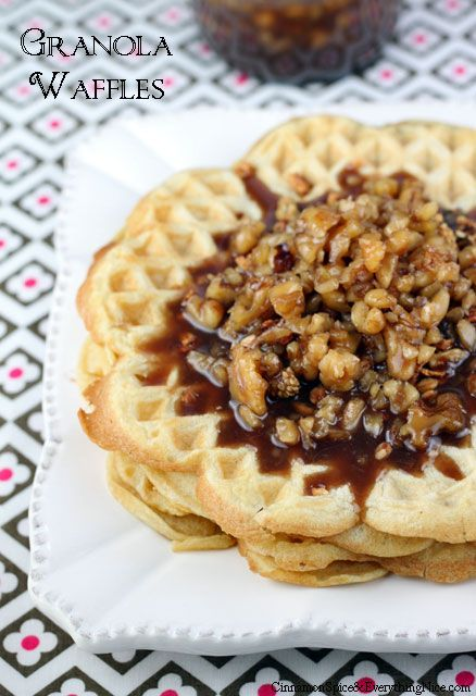 Granola Waffles with Butter Pecan Syrup | Recipe