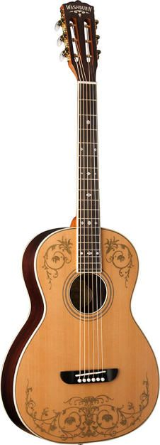 Washburn Parlor Guitar with Gold Leaf WP5234SK Solid Cedar Top