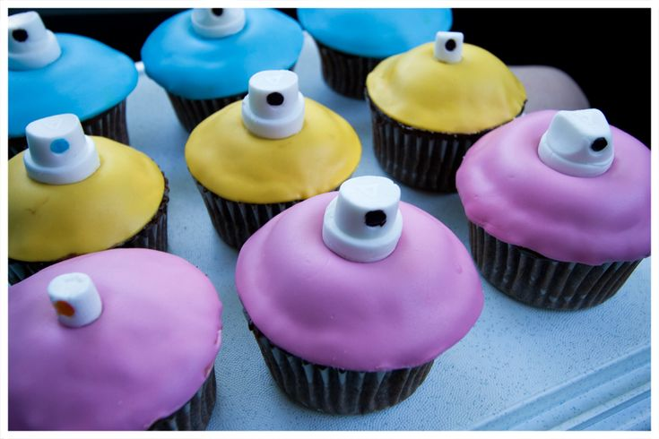 Graffiti cuppies! - Nozzle Spraycan Cupcakes I made for a BBQ with friends!  Nozzles are fully edible and handmade by me!! =)