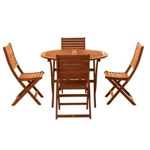Peru 4 Seater Wooden Garden Furniture Set with Folding Chairs