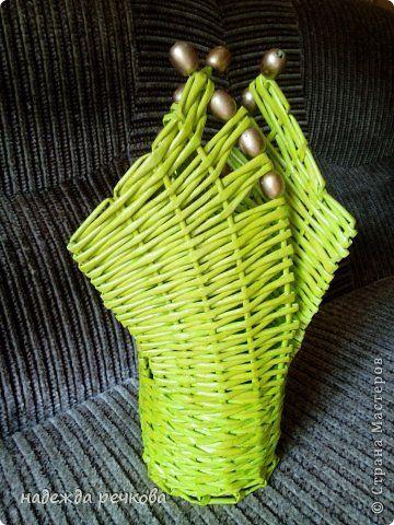 Поделка изделие Плетение вазы Трубочки бумажные фото 6