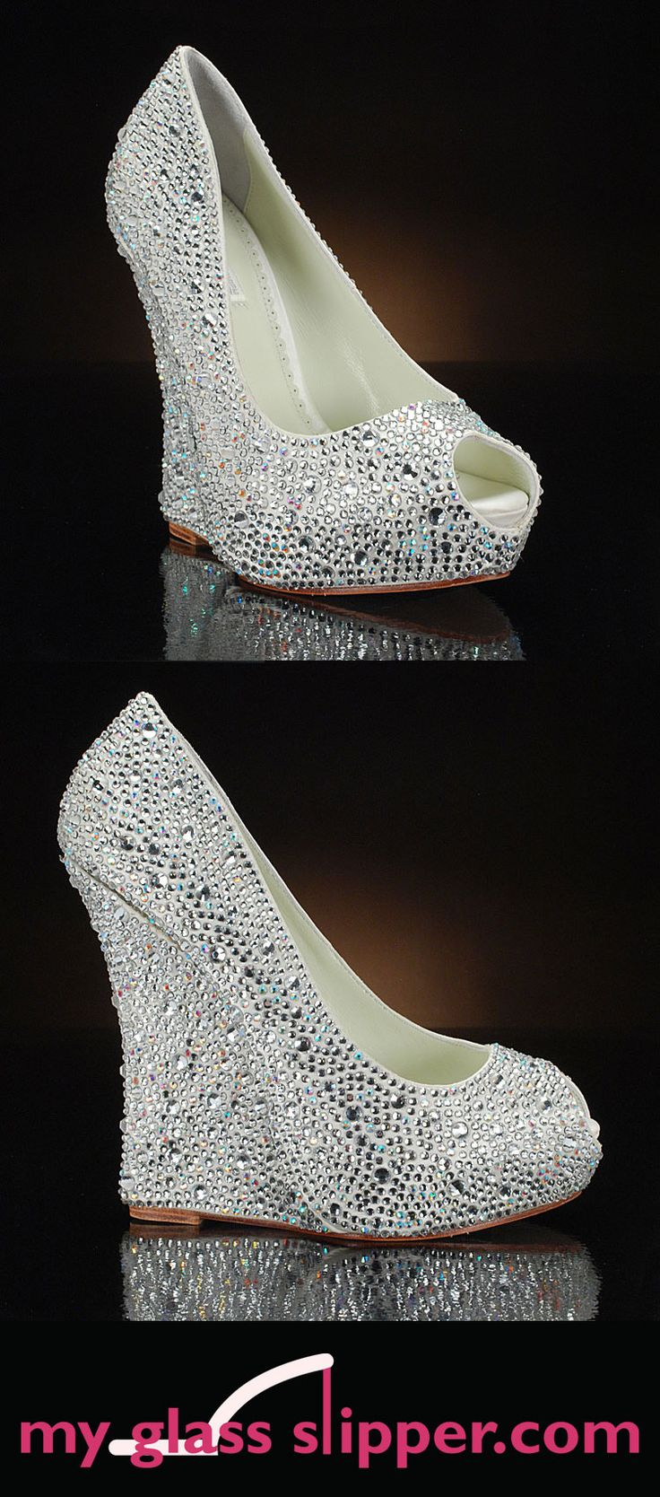 MILA by BENJAMIN ADAMS:   Comfortable wedge wedding shoes with serious sparkle! These sparkly wedding shoes from Benjamin Adams London are covered all over with dazzling Swarovski crystals. A glamorous tall shoe you can dance in too? Perfection! $449     http://www.myglassslipper.com/wedding-shoes/benjamin-adams/mila-7868