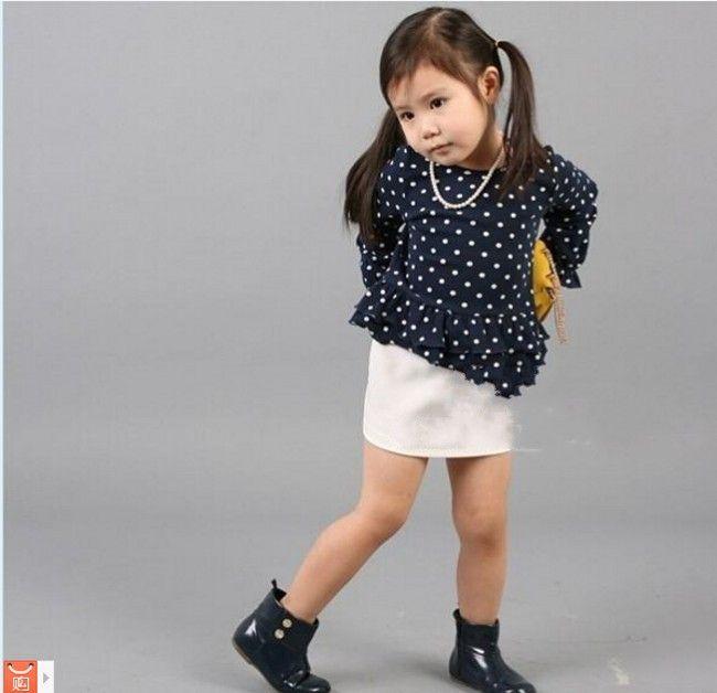 Dhl EMS бесплатная доставка девочку малыши летом 2 шт. комплект экипировка топ + юбка комплект горошек наряд