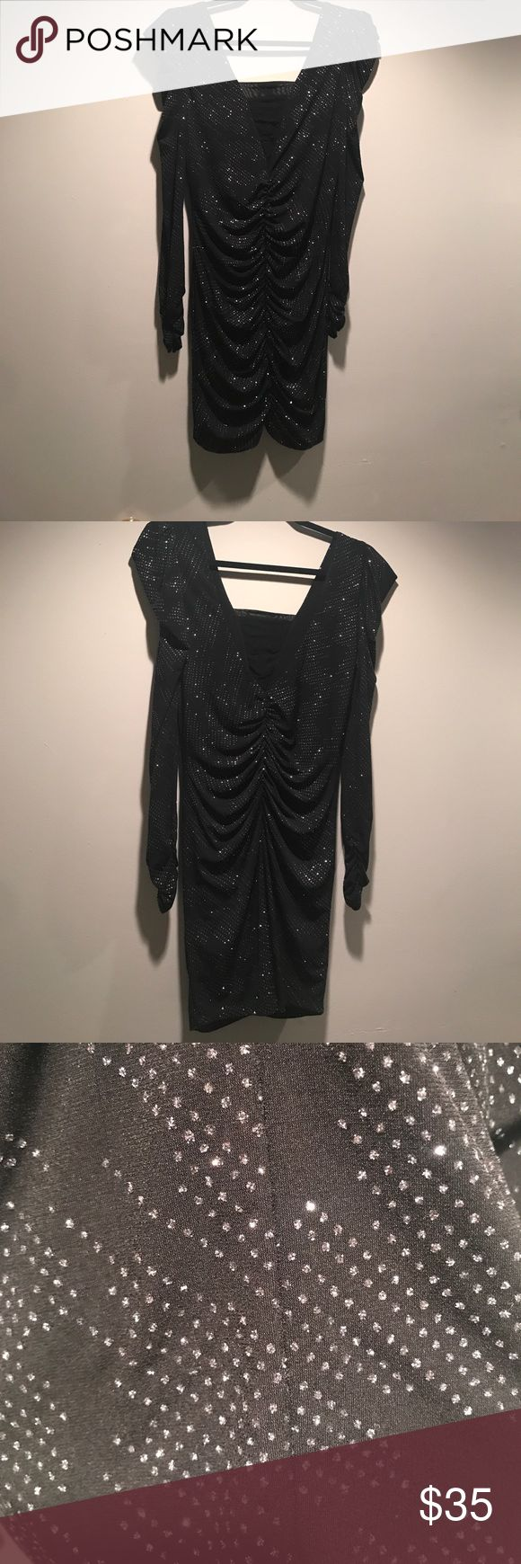 Black and Silver Sparkle Dress Long sleeve mini body con dress Arden B Dresses Mini