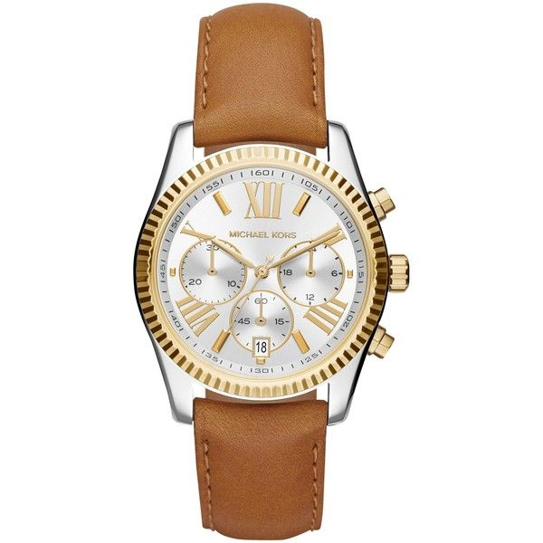 Michael Kors Mk2420 Women's Stainless Steel Lexington Leather Strap... ($310) ❤ liked on Polyvore featuring jewelry, watches, michael kors jewelry, roman numeral watches, silver wrist watch, stainless steel wrist watch and silver watches