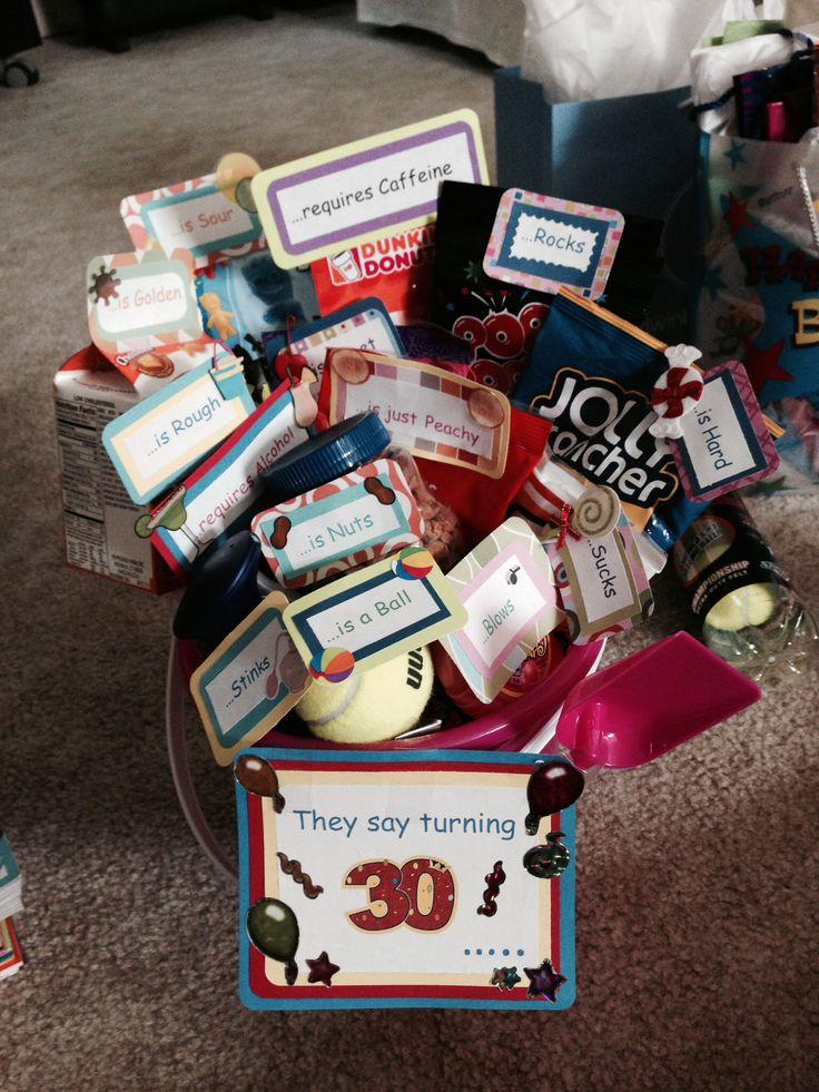 30th birthday bucket 30th birthday basket pinterest