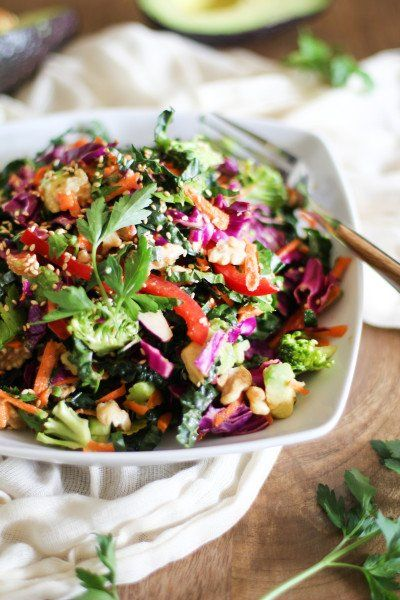 Kale Red Cabbage Salad with Broccoli, Carrot, Bell Pepper, Avocado, Walnuts, Sesame Seeds and Lemon Ginger Dijon Dressing