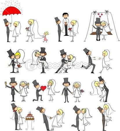 Fotos de boda de dibujos animados — Vector stock © virinaflora #14074295