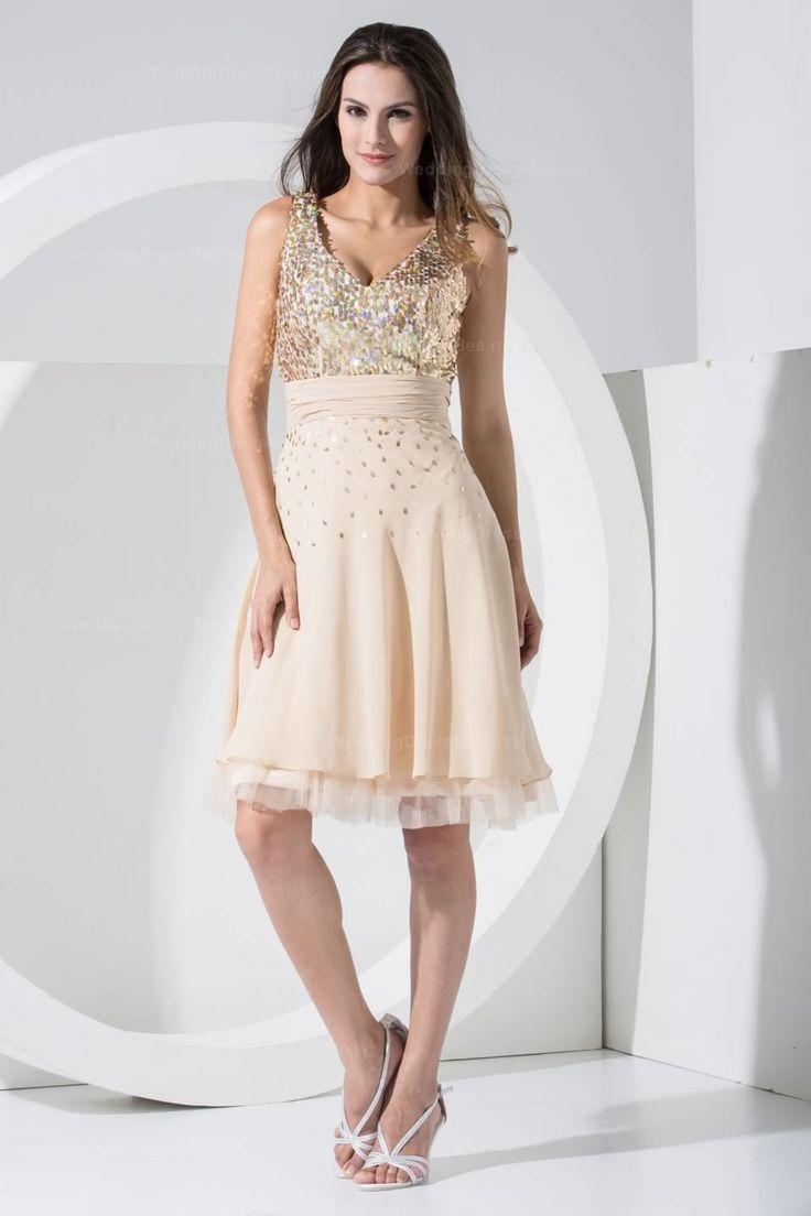 126 best bridesmaids dresses images on pinterest wedding shinning bodice v neck knee length chiffon beautiful dress ombrellifo Images