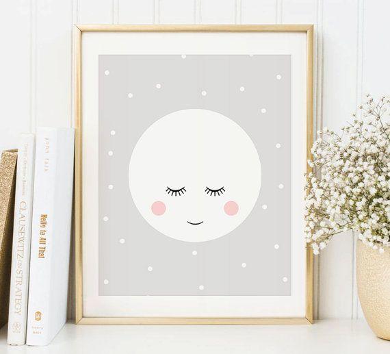 Moon Art Print Cute Moon Wall Art Instant Download