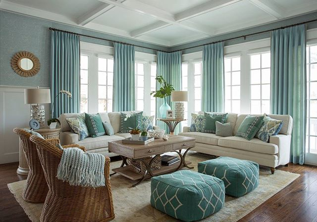 The #ColorPalette of this #livingroom reminds me of a day a the beach.. #turquoise waters and a sandy beach. Design by #AlexandraRaeDesign. #Wallpaper is by @thibaut_1886 and #sofas are from @kravetinc. #ighomes #interiordesignblog #blogs #blog #blogger #followers #follow #ighomes #iginteriors #igideas #homedecor #homeideas #interiordesign #newproject #iggoals #livingroomideas #homedecor #interiordesigner #newpost #post