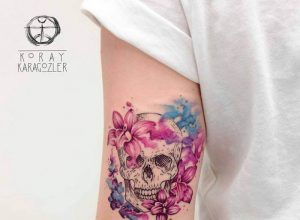 Watercolor skull tattoos by Britta Christiansen