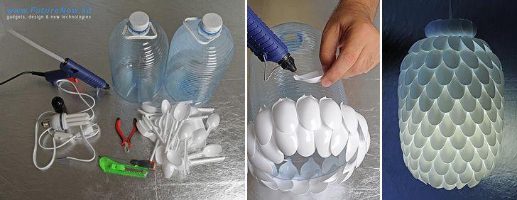 Upcycle plastic cutlery to make unusual pendant lamp.