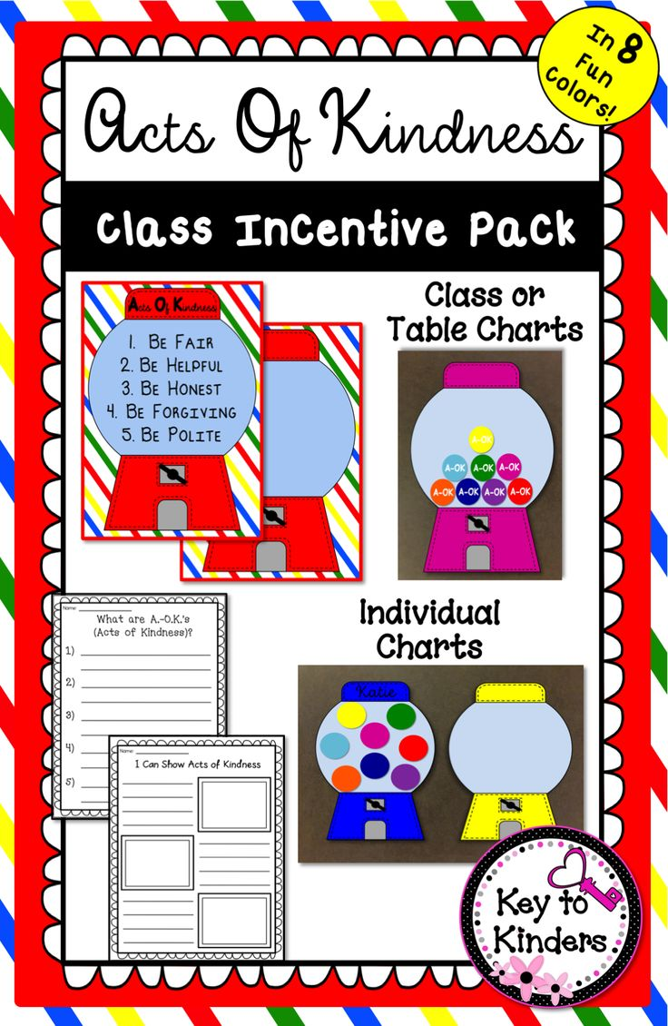 Bright Class Incentive Charts to encourage your students to respect and treat others with KINDNESS!!