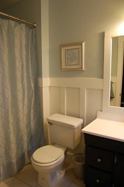 bathroom redo love color wainscoting